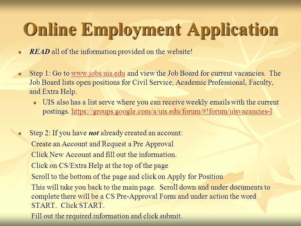 online employment application civil service testing click to