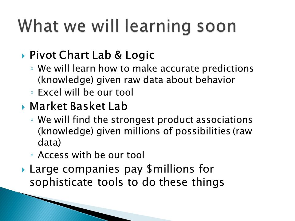  Pivot Chart Lab & Logic ◦ We will learn how to make accurate predictions (knowledge) given raw data about behavior ◦ Excel will be our tool  Market Basket Lab ◦ We will find the strongest product associations (knowledge) given millions of possibilities (raw data) ◦ Access with be our tool  Large companies pay $millions for sophisticate tools to do these things