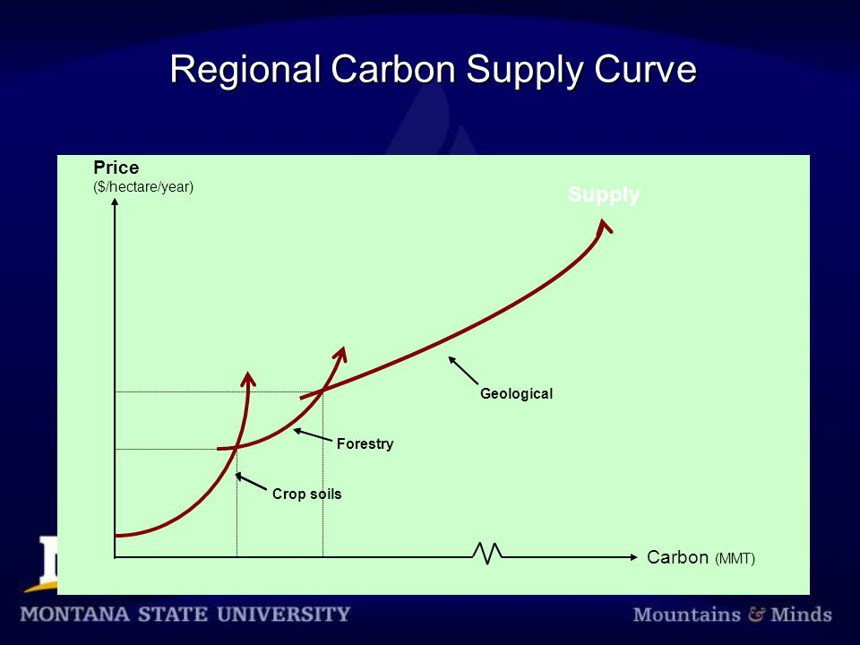 Price Forestry Geologic Regional Carbon Supply Curve Price ($/hectare/year) Carbon (MMT) Crop soils Supply Forestry Geological