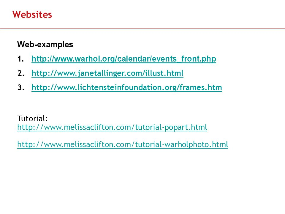 Slide 11 Websites Web-examples Tutorial: