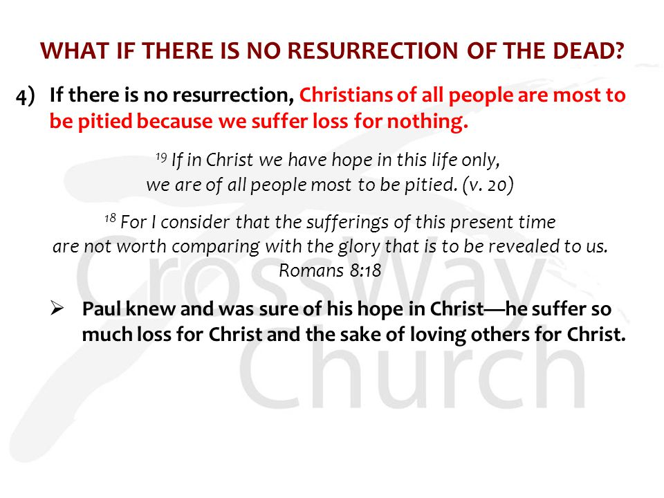 WHAT IF THERE IS NO RESURRECTION OF THE DEAD.