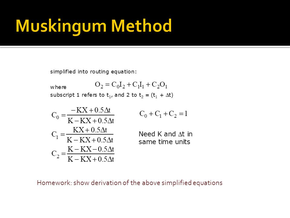 Homework: show derivation of the above simplified equations