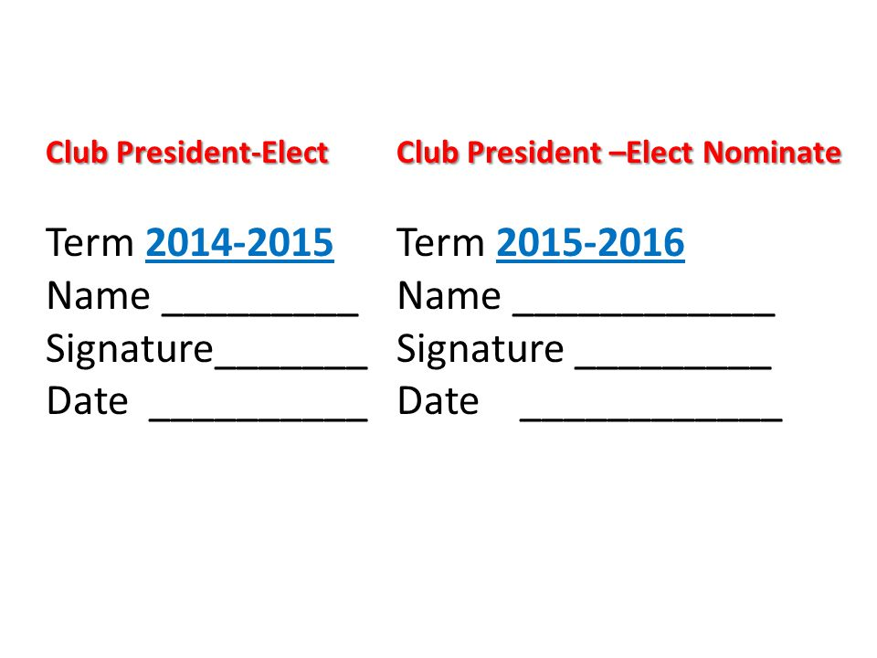 Club President-ElectClub President –Elect Nominate Term Term Name _________Name ____________ Signature_______Signature _________ Date __________ Date ____________