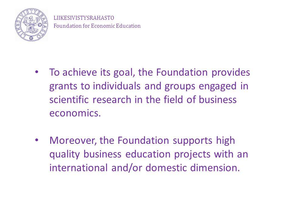 Research funding Liikesivistysrahasto Foundation for Economic