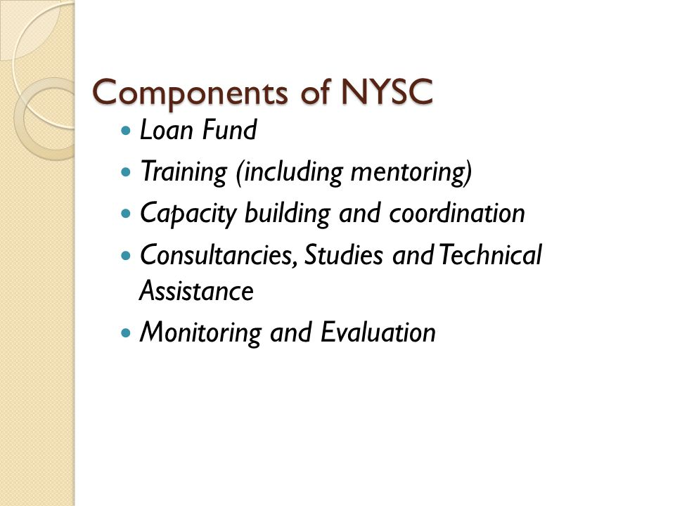 Components of NYSC Loan Fund Training (including mentoring) Capacity building and coordination Consultancies, Studies and Technical Assistance Monitoring and Evaluation
