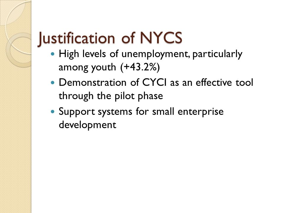 Justification of NYCS High levels of unemployment, particularly among youth (+43.2%) Demonstration of CYCI as an effective tool through the pilot phase Support systems for small enterprise development
