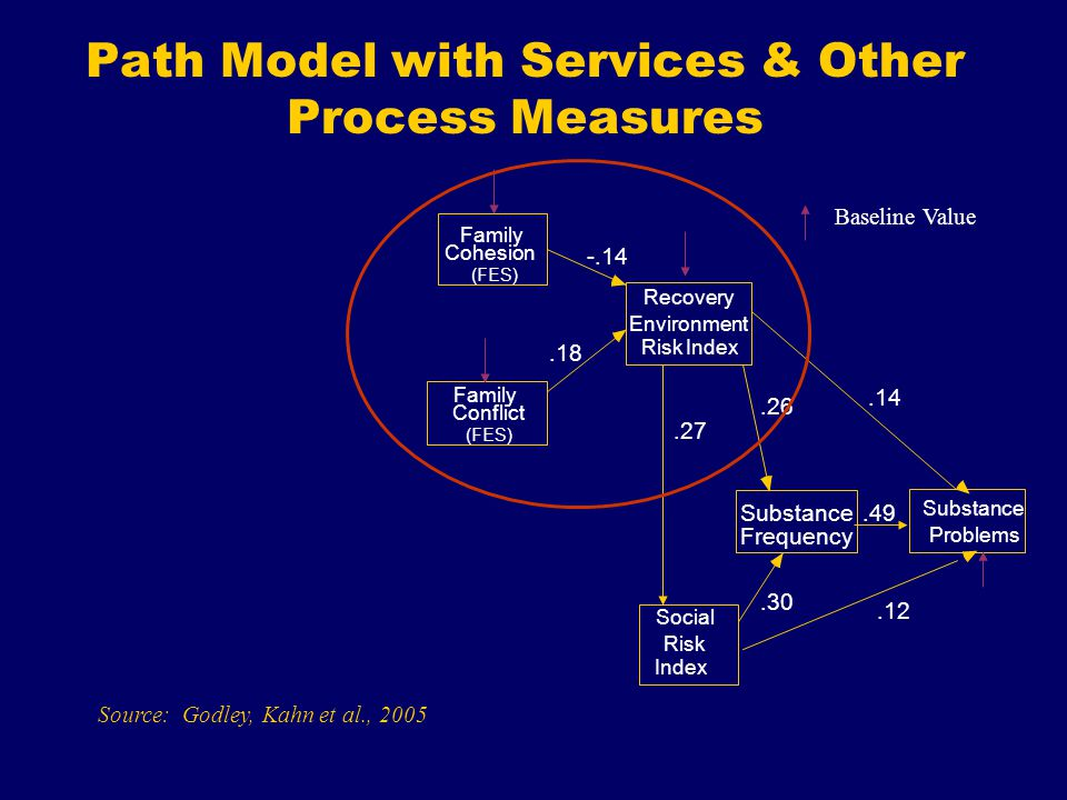 Path Model with Services & Other Process Measures Cohesion Conflict Recovery Environment Social Risk Substance Frequency Substance Problems Baseline Value Family Index (FES) Source: Godley, Kahn et al., 2005 Risk