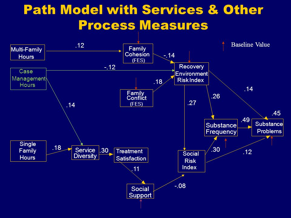 Path Model with Services & Other Process Measures Social Support Recovery Environment Social Risk Substance Frequency.45 Substance Problems Treatment Satisfaction Service Diversity Baseline Value Multi-Family Hours Case Management Hours Single Family Hours Index Conflict Family (FES).14 Cohesion (FES) Family Risk