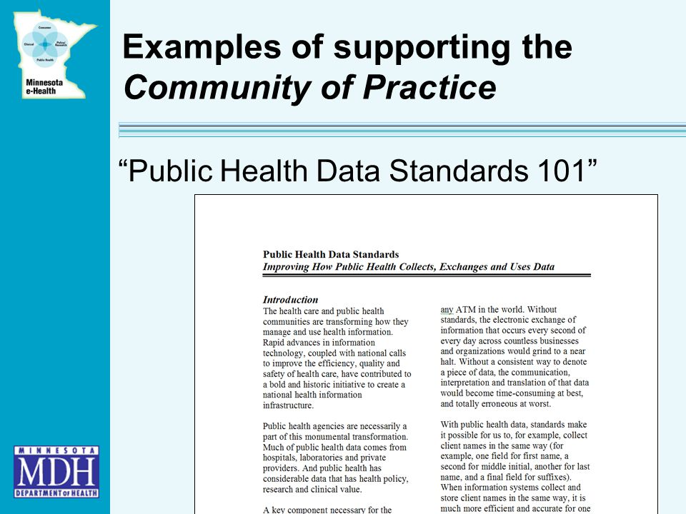 Examples of supporting the Community of Practice Public Health Data Standards 101