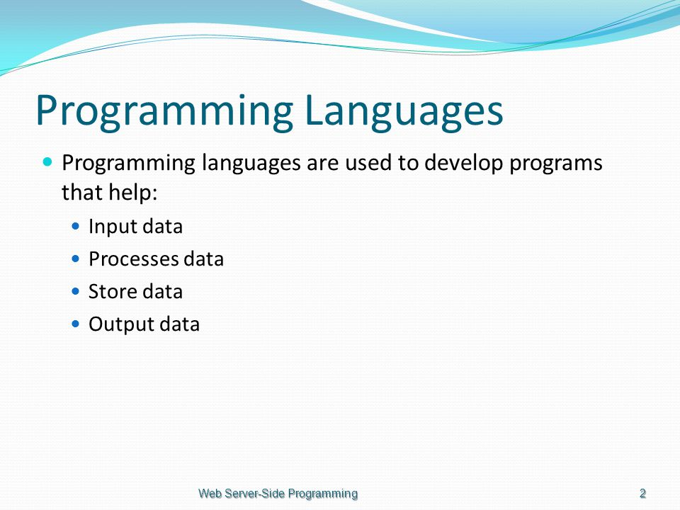 Programming Languages Programming languages are used to develop programs that help: Input data Processes data Store data Output data Web Server-Side Programming2