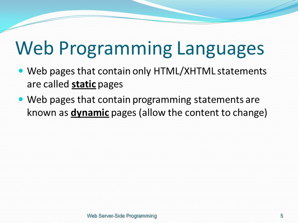 Web Programming Languages Web pages that contain only HTML/XHTML statements are called static pages Web pages that contain programming statements are known as dynamic pages (allow the content to change) Web Server-Side Programming5