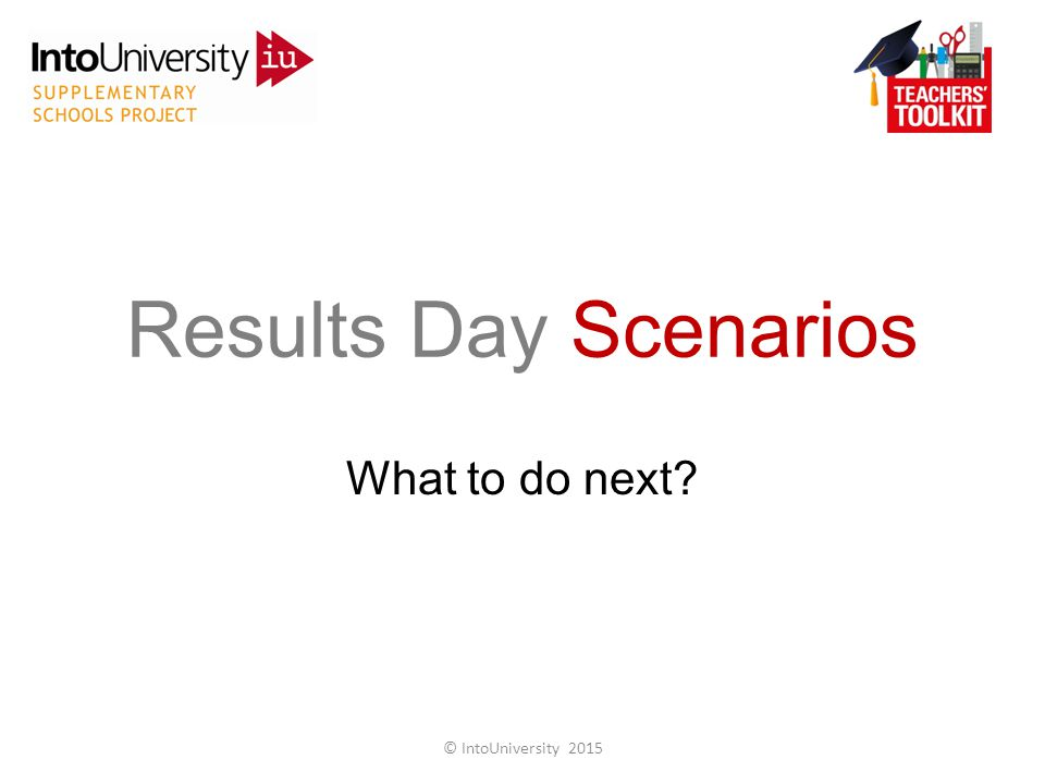 What to do next Results Day Scenarios © IntoUniversity 2015