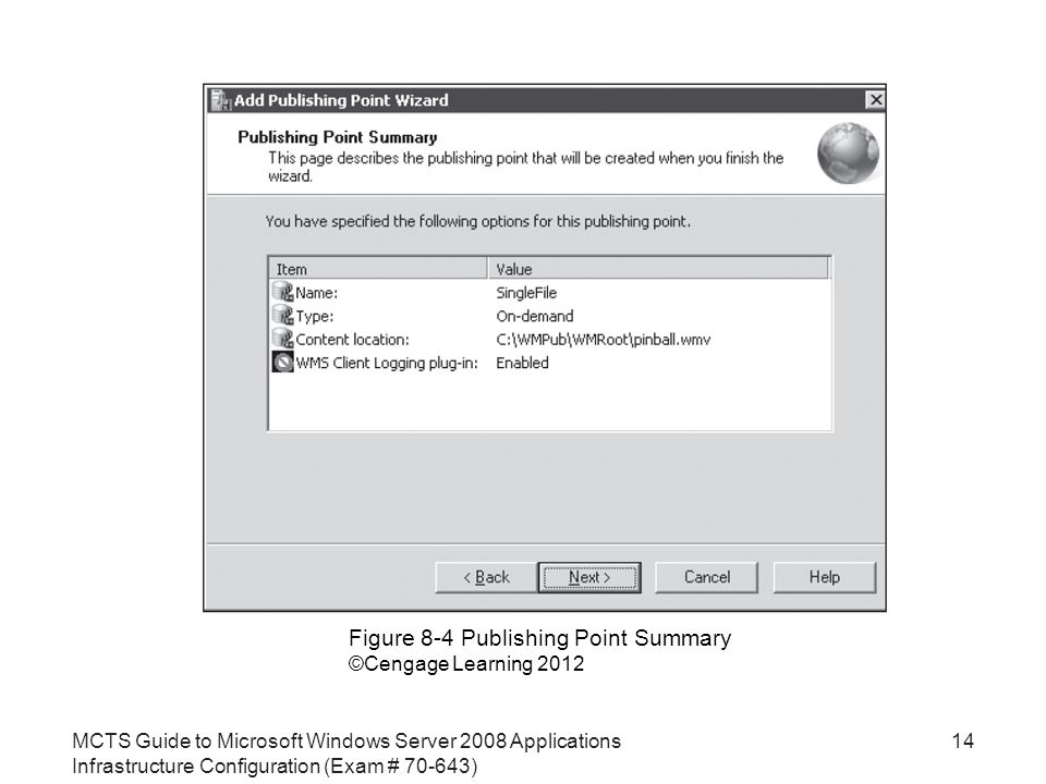 MCTS Guide to Microsoft Windows Server 2008 Applications Infrastructure Configuration (Exam # ) 14 Figure 8-4 Publishing Point Summary ©Cengage Learning 2012