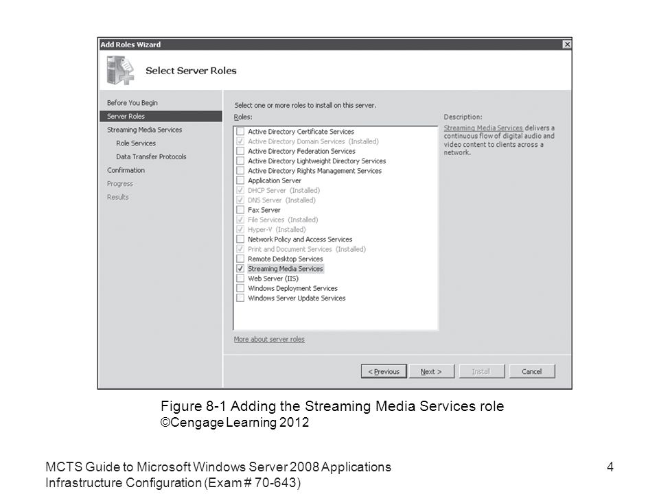 MCTS Guide to Microsoft Windows Server 2008 Applications Infrastructure Configuration (Exam # ) 4 Figure 8-1 Adding the Streaming Media Services role ©Cengage Learning 2012