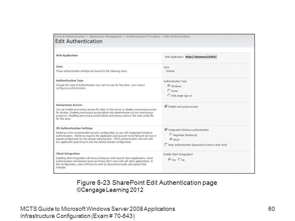 MCTS Guide to Microsoft Windows Server 2008 Applications Infrastructure Configuration (Exam # ) 60 Figure 8-23 SharePoint Edit Authentication page ©Cengage Learning 2012