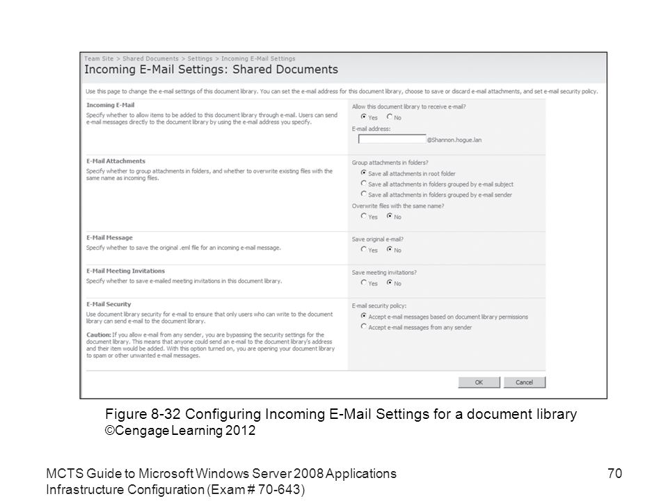 MCTS Guide to Microsoft Windows Server 2008 Applications Infrastructure Configuration (Exam # ) 70 Figure 8-32 Configuring Incoming  Settings for a document library ©Cengage Learning 2012