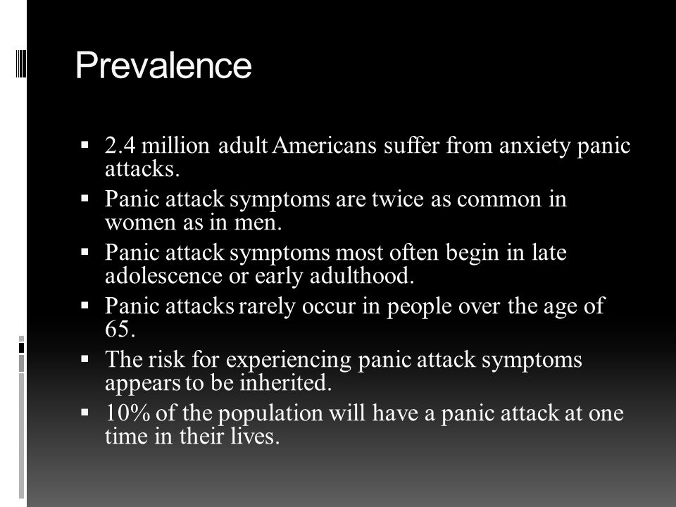Prevalence  2.4 million adult Americans suffer from anxiety panic attacks.