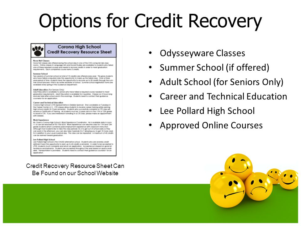 Options for Credit Recovery Odysseyware Classes Summer School (if offered) Adult School (for Seniors Only) Career and Technical Education Lee Pollard High School Approved Online Courses Credit Recovery Resource Sheet Can Be Found on our School Website
