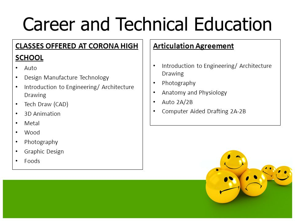 Career and Technical Education Articulation Agreement Introduction to Engineering/ Architecture Drawing Photography Anatomy and Physiology Auto 2A/2B Computer Aided Drafting 2A-2B CLASSES OFFERED AT CORONA HIGH SCHOOL Auto Design Manufacture Technology Introduction to Engineering/ Architecture Drawing Tech Draw (CAD) 3D Animation Metal Wood Photography Graphic Design Foods