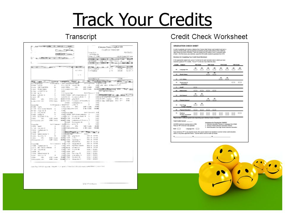 Track Your Credits TranscriptCredit Check Worksheet