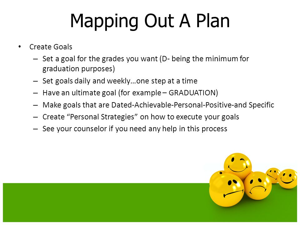 Mapping Out A Plan Create Goals – Set a goal for the grades you want (D- being the minimum for graduation purposes) – Set goals daily and weekly…one step at a time – Have an ultimate goal (for example – GRADUATION) – Make goals that are Dated-Achievable-Personal-Positive-and Specific – Create Personal Strategies on how to execute your goals – See your counselor if you need any help in this process