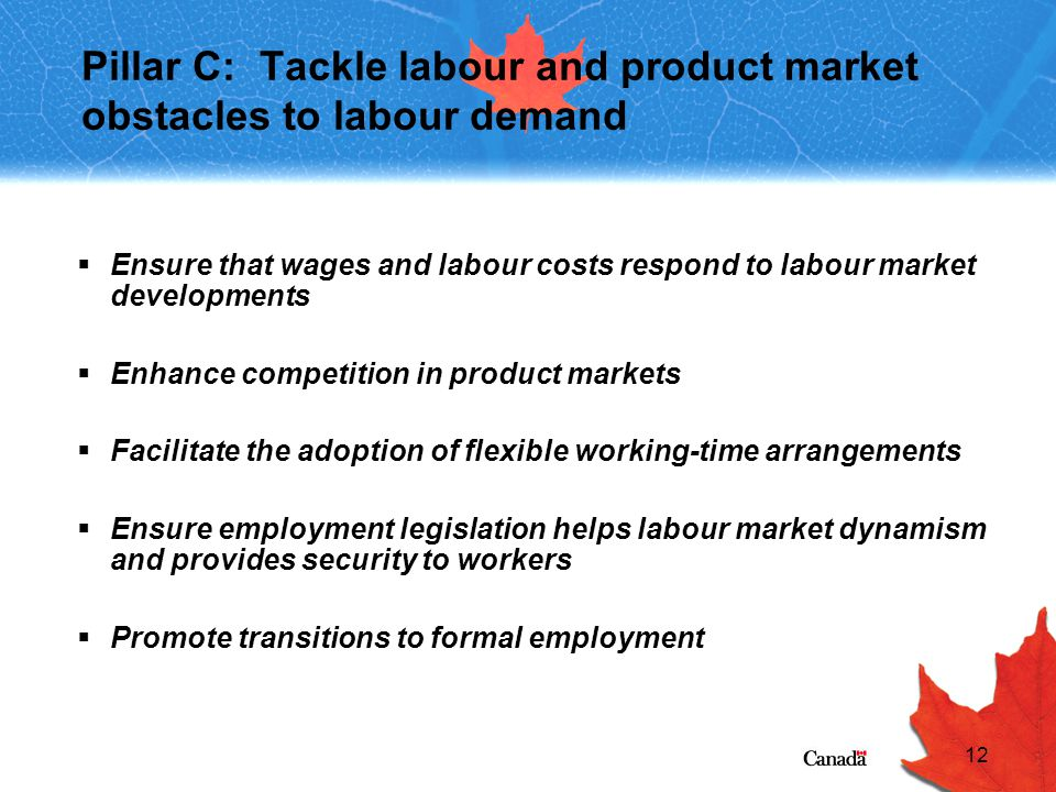 12 Pillar C: Tackle labour and product market obstacles to labour demand  Ensure that wages and labour costs respond to labour market developments  Enhance competition in product markets  Facilitate the adoption of flexible working-time arrangements  Ensure employment legislation helps labour market dynamism and provides security to workers  Promote transitions to formal employment