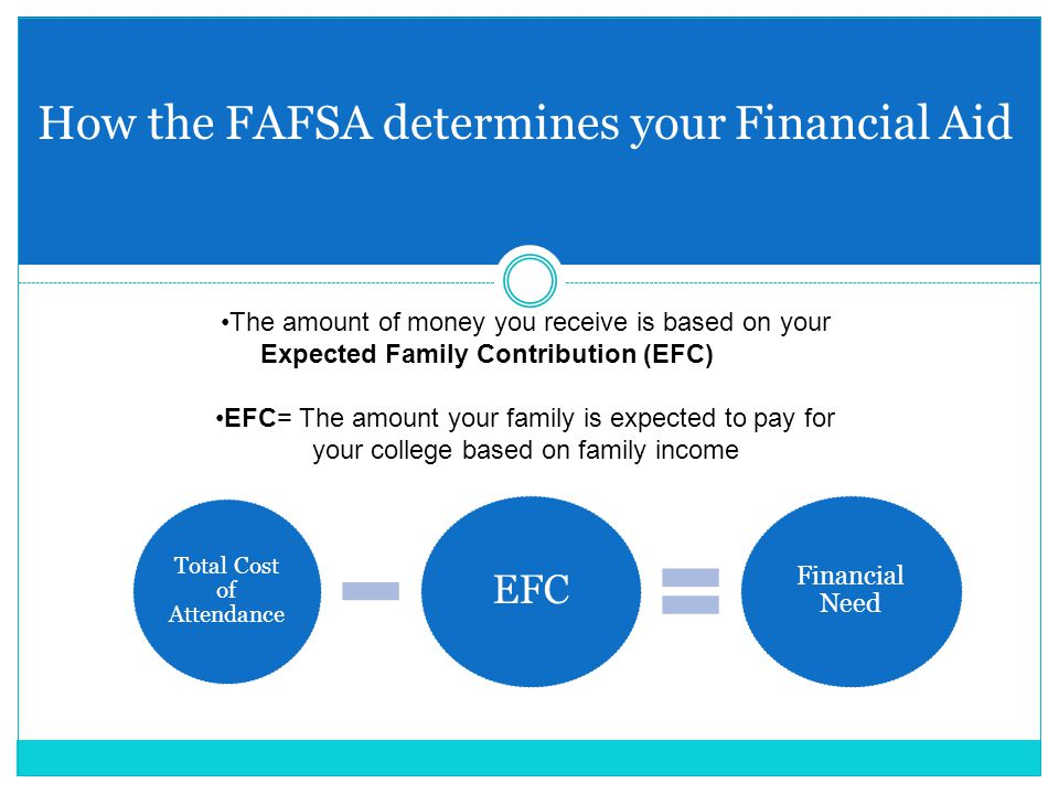 How the FAFSA determines your Financial Aid The amount of money you receive is based on your Expected Family Contribution (EFC) EFC= The amount your family is expected to pay for your college based on family income Total Cost of Attendance EFC Financial Need