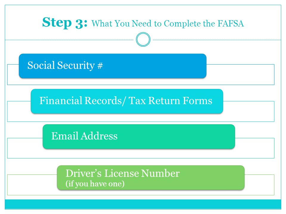 Step 3: What You Need to Complete the FAFSA Social Security #Financial Records/ Tax Return Forms Address Driver's License Number (if you have one)