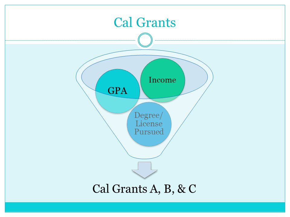 Cal Grants Cal Grants A, B, & C Degree/ License Pursued GPA Income