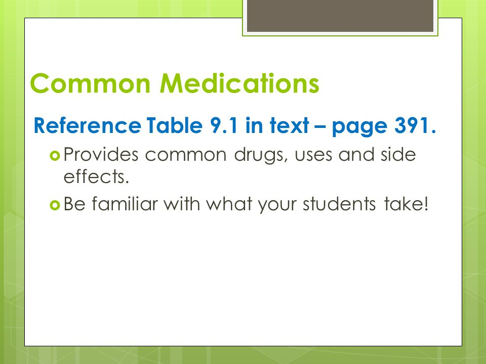 Common Medications Reference Table 9.1 in text – page 391.