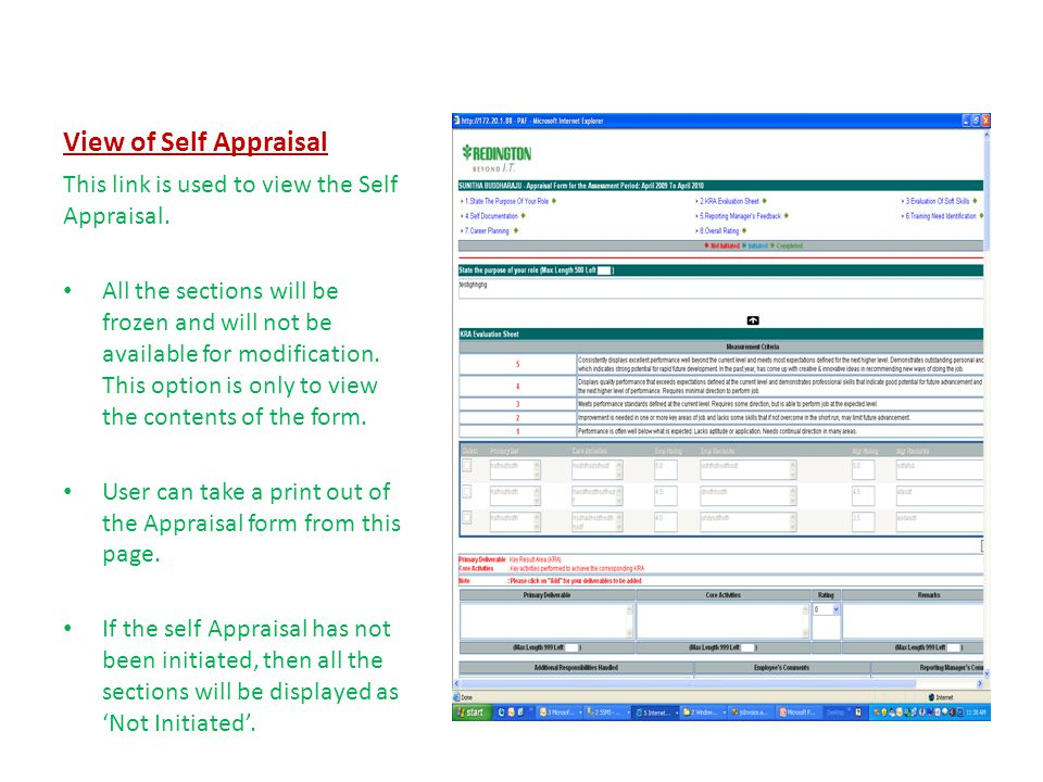 View of Self Appraisal This link is used to view the Self Appraisal.