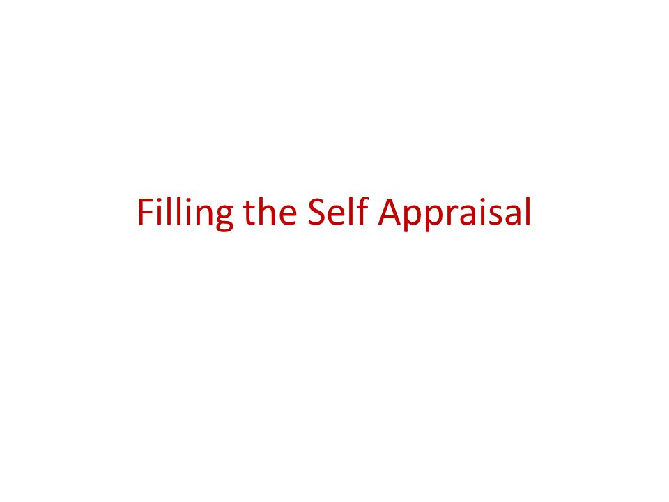 Filling the Self Appraisal