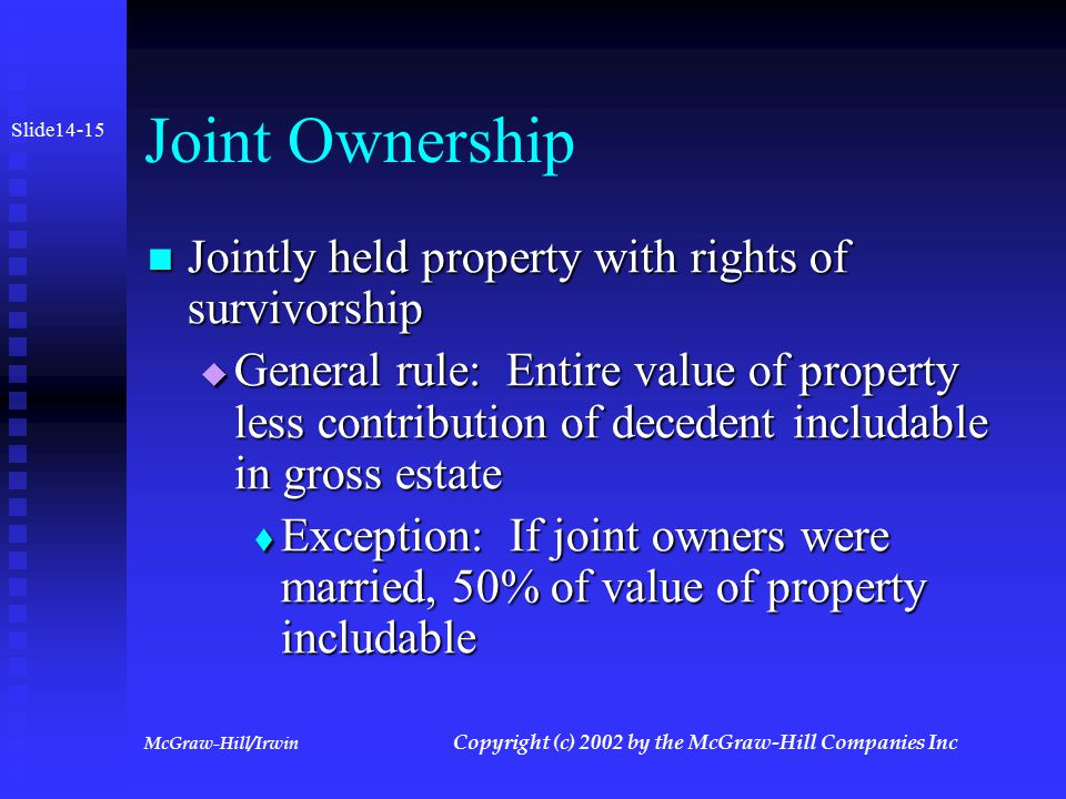 McGraw-Hill/Irwin Copyright (c) 2002 by the McGraw-Hill Companies Inc Joint Ownership Ownership where two or more persons have an undivided interest in property Ownership where two or more persons have an undivided interest in property Types: Types:  Joint tenancy- Ownership passes to survivors or survivors  Tenancy by the entirety- same as joint tenancy but between husband and wife  Tenancy in common- no right of survivorship  Community Property- property except for gifts and inheritances acquired during marriage in a community property state Slide 14-14