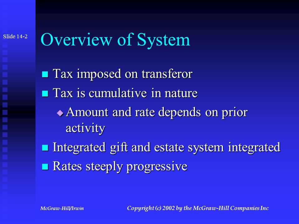 McGraw-Hill/Irwin Copyright (c) 2002 by the McGraw-Hill Companies Inc Principles of Taxation: Advanced Strategies Chapter 14 Chapter 14 The Transfer Tax System The Transfer Tax System Slide 14-1