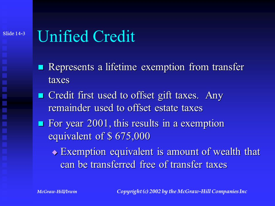 McGraw-Hill/Irwin Copyright (c) 2002 by the McGraw-Hill Companies Inc Overview of System Tax imposed on transferor Tax imposed on transferor Tax is cumulative in nature Tax is cumulative in nature  Amount and rate depends on prior activity Integrated gift and estate system integrated Integrated gift and estate system integrated Rates steeply progressive Rates steeply progressive Slide 14-2