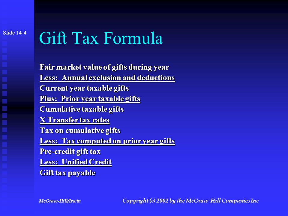 McGraw-Hill/Irwin Copyright (c) 2002 by the McGraw-Hill Companies Inc Unified Credit Slide 14-3 Represents a lifetime exemption from transfer taxes Represents a lifetime exemption from transfer taxes Credit first used to offset gift taxes.
