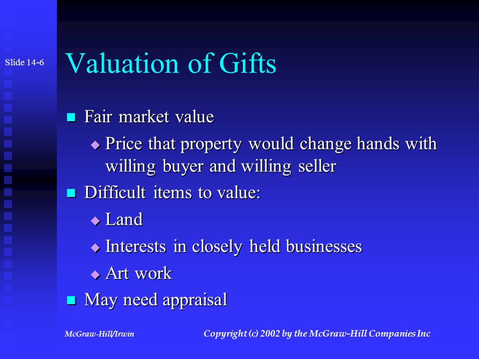 McGraw-Hill/Irwin Copyright (c) 2002 by the McGraw-Hill Companies Inc Gifts Transfers for less than adequate consideration in money or money's worth Transfers for less than adequate consideration in money or money's worth No gift until transfer complete No gift until transfer complete Slide 14-5