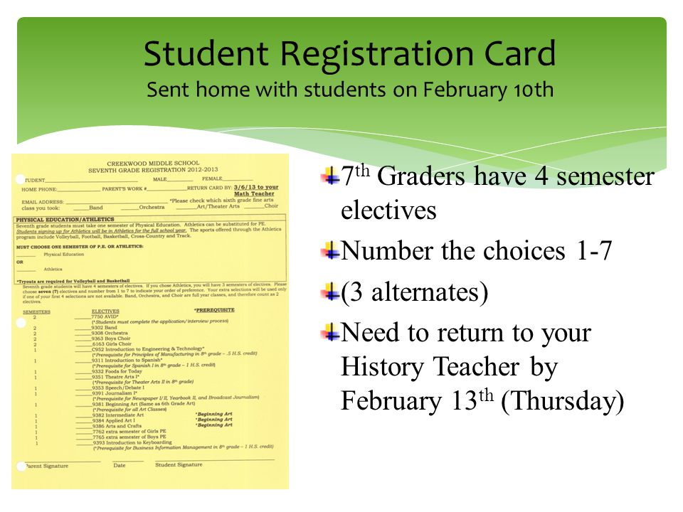 Class of th grade course requirements language arts pe 1 3 student registration card sent home with students on february 10th 7 th graders have 4 semester electives number the choices 1 7 3 alternates need to reheart Image collections
