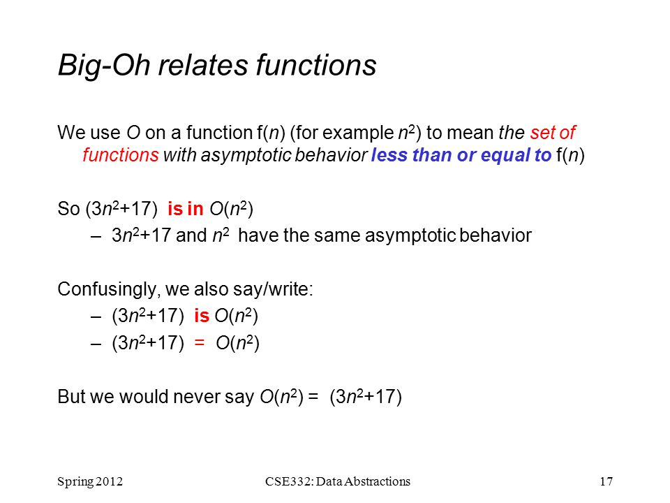 Big-Oh relates functions We use O on a function f(n) (for example n 2 ) to mean the set of functions with asymptotic behavior less than or equal to f(n) So (3n 2 +17) is in O(n 2 ) –3n and n 2 have the same asymptotic behavior Confusingly, we also say/write: –(3n 2 +17) is O(n 2 ) –(3n 2 +17) = O(n 2 ) But we would never say O(n 2 ) = (3n 2 +17) Spring CSE332: Data Abstractions