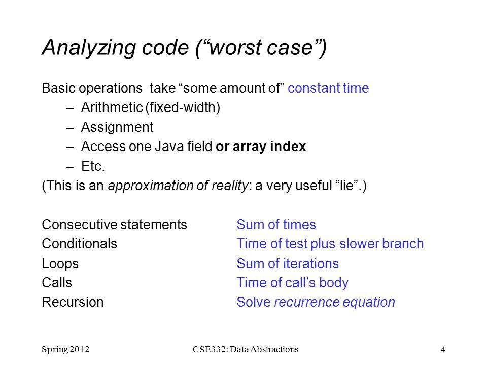 Analyzing code ( worst case ) Basic operations take some amount of constant time –Arithmetic (fixed-width) –Assignment –Access one Java field or array index –Etc.