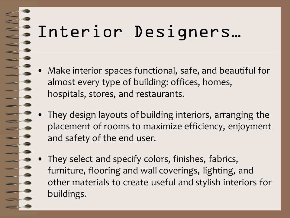 Interior Design Careers Today S Learning Goals Students Will Be Able To 1 Identify The Scope Of Interior Design Career Opportunities 2 Explain The Ppt Download