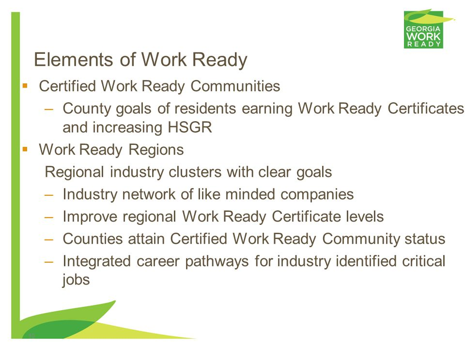 0 Georgia Work Ready Debra Lyons Director Governors Office Of