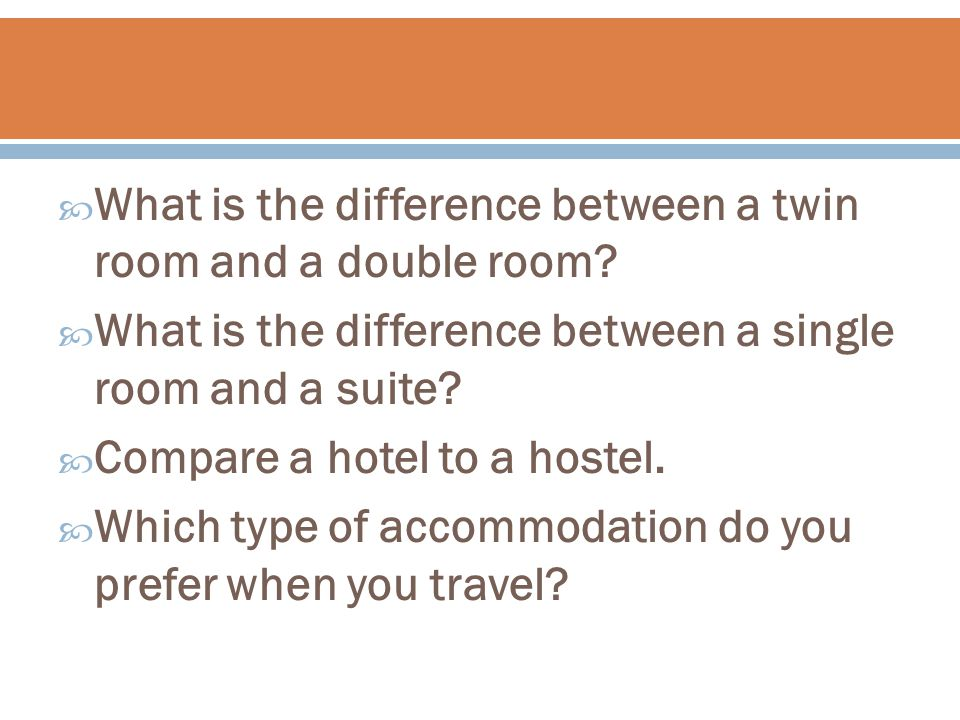  What is the difference between a twin room and a double room.