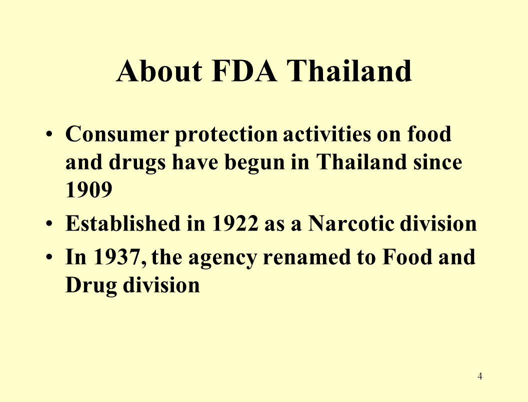 3 Introduction About FDA Thailand Role and Responsibility Relating Acts Administration of Acts Organization of FDA for controlling
