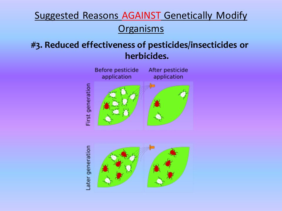 #3. Reduced effectiveness of pesticides/insecticides or herbicides.