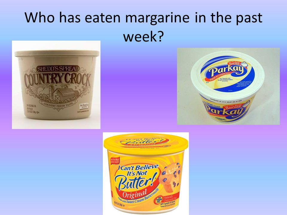 Who has eaten margarine in the past week