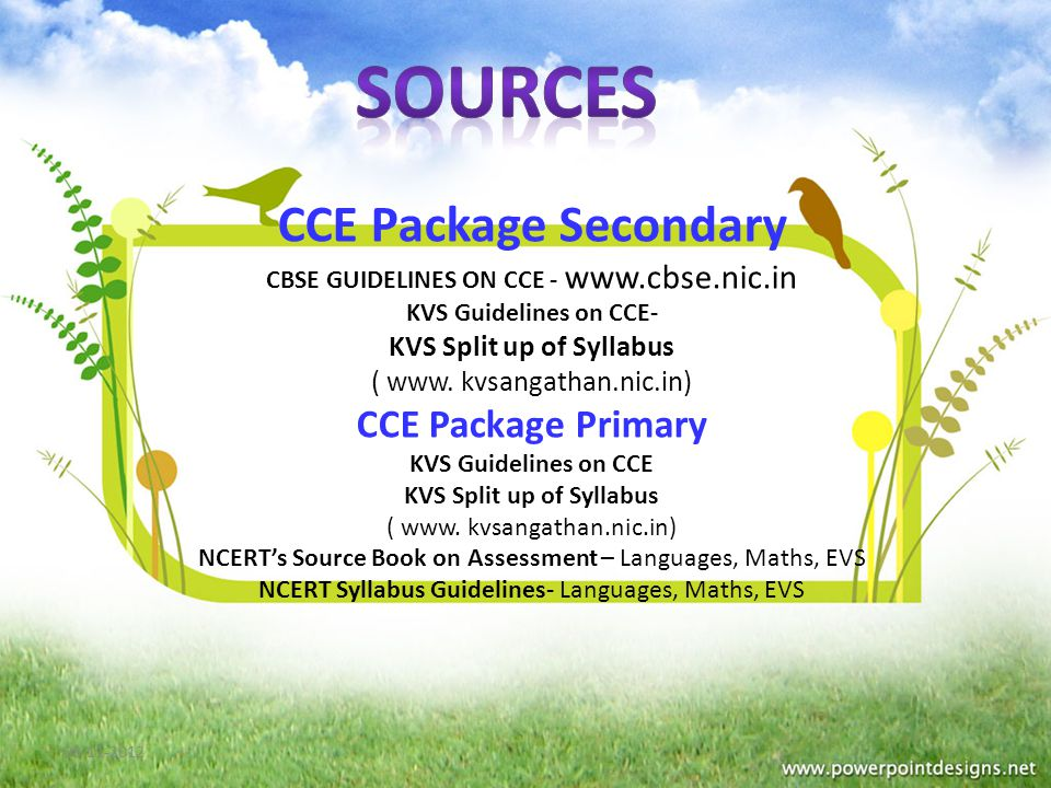 CCE Package Secondary CBSE GUIDELINES ON CCE -   KVS Guidelines on CCE- KVS Split up of Syllabus ( www.
