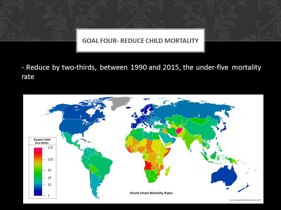 - Reduce by two-thirds, between 1990 and 2015, the under-five mortality rate GOAL FOUR- REDUCE CHILD MORTALITY
