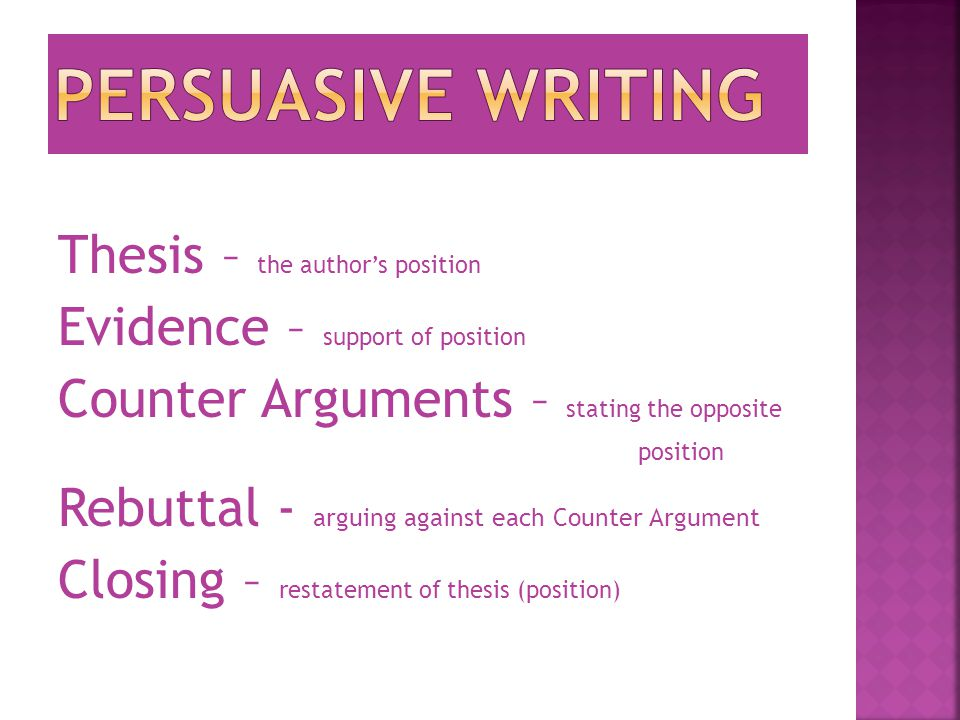 Thesis – the author's position Evidence – support of position Counter Arguments – stating the opposite position Rebuttal - arguing against each Counter Argument Closing – restatement of thesis (position)