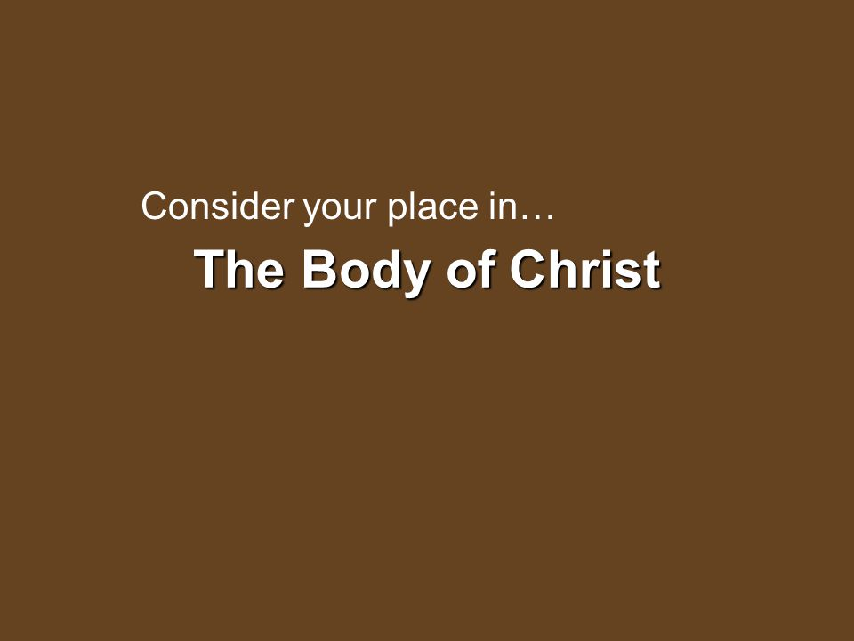 The Body of Christ Consider your place in…